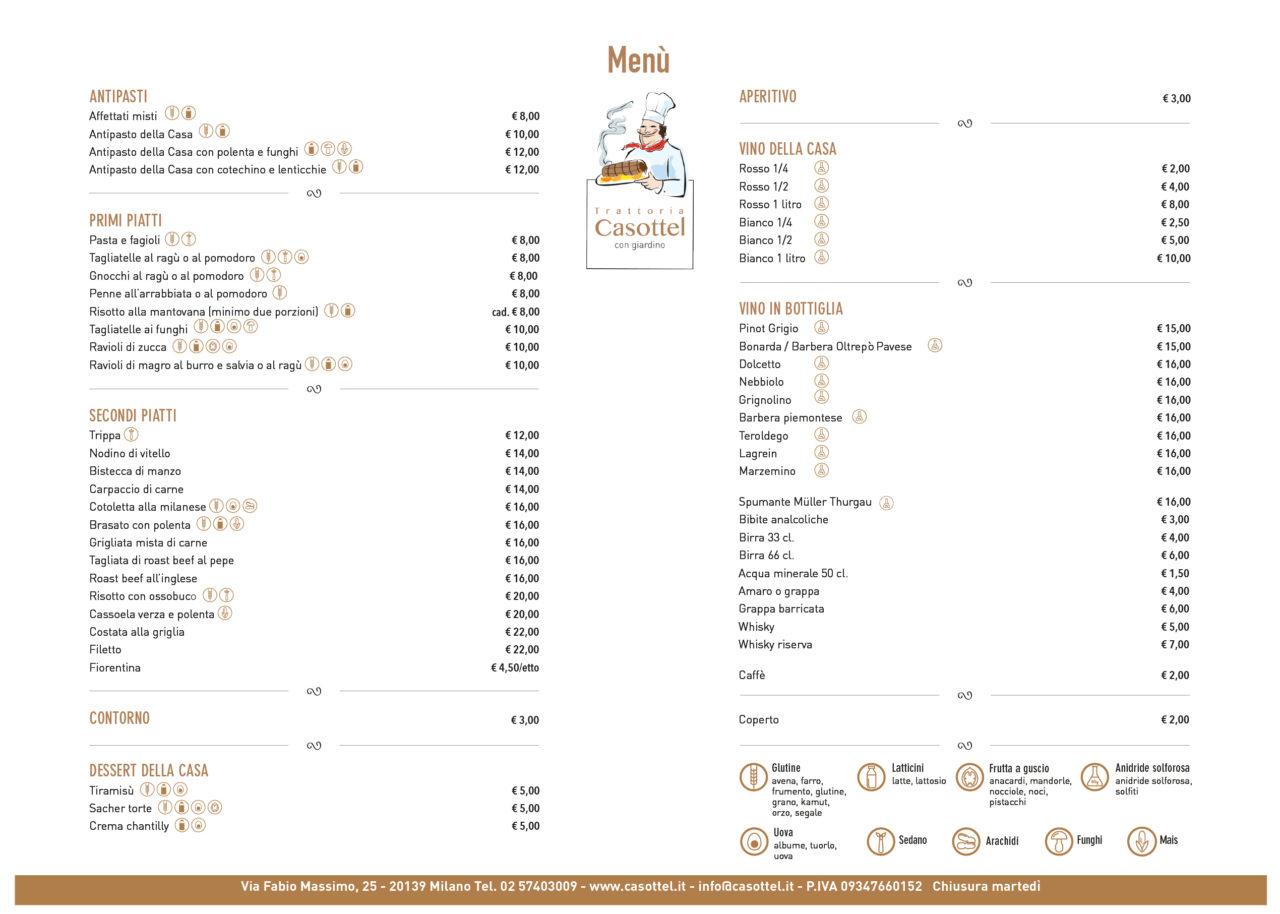 menu trattoria casottel 2020